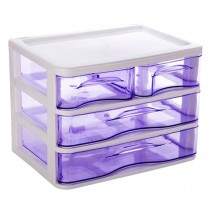 Office Plastic Desktop Storage Drawer Organizer - 4 Storage Cabinets Purple