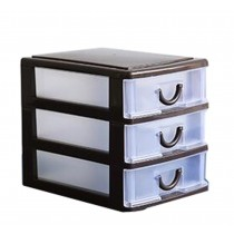 Cheap Office Plastic Desktop Storage Drawer Organizer-3 Storage Cabinets Brown
