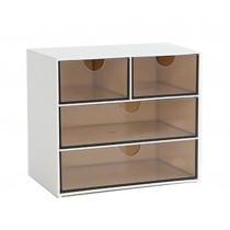 Modern Office Plastic Desktop Storage Drawer Organizer-4 Storage Cabinets Brown