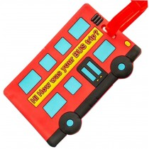 Travel Portable Boarding Pass Cartoon Creative Silicone Luggage Tag Red