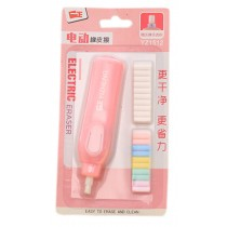 Functional Electric Refillable Eraser with Refills School/Office Supply, Pink