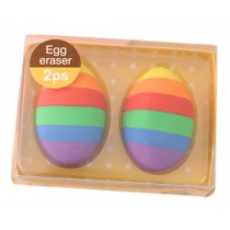 Set of 2 Creative Colorful Egg Erasers for School/Office Supply, Yellow Box