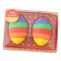 Set of 2 Creative Colorful Egg Erasers for School/Office Supply, Red Box