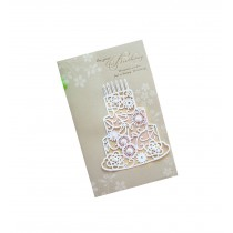 Set of 5 Lovely Creative Greeting Card Elegant Festival Card With Envelope Beige