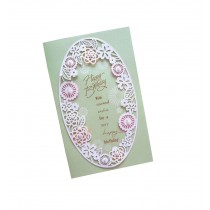 Set of 5 Lovely Creative Greeting Card Elegant Festival Card With Envelope Green