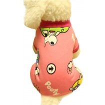 Warmth Pet Dog Clothes Winter Dress Fleece Garment Of Four Feet Rose Red