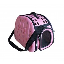 Pet Carry Bag Outdoor Travel Tote Soft-Sided Carriers For Dog Or Cat(Pink)