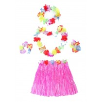 Double Skirt Holiday Party Clothing Grass Skirts Hawaiian Grass Skirt Pink
