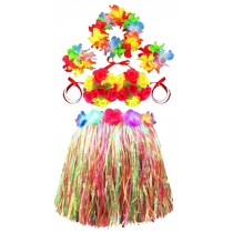 Evening Dress For Kids Garland Dance Costume Suit Hula Grass Skirts