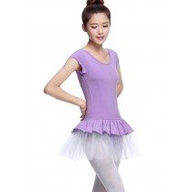 Soft Adult Short Sleeve Ballet Dance Leotards PURPLE, XL(Asian Size)