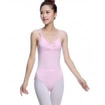 Adult Sleeveless Ballet Dance Gymnastics Leotards PINK, XL(Asian Size)