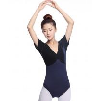 Girls Women Short Sleeve Ballet Dance Leotards Royal-blue, XL(Asian Size)