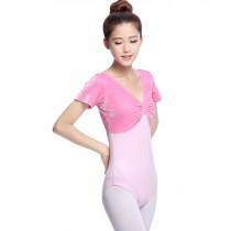 Girls Women Short Sleeve Ballet Dance Leotards PINK, XL(Asian Size)