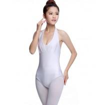 Girls Women Sleeveless Ballet Dance Leotards WHITE, L(Asian Size)