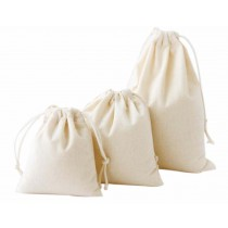 Set of 3 New Style Canvas Creative Travel Sports Storage Drawstring Bags White