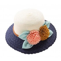 [Navy] Elegant Summer Straw Hat Beach Hat Wide Brim Hat Bucket Hat for Lady