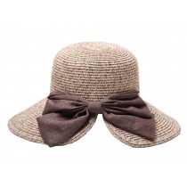 Fashion Women Summer Straw Hat Beach Hat Wide Brim Hat Bow Khaki