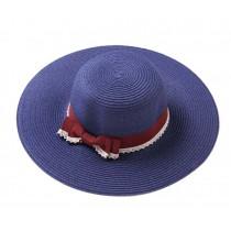 Fashion Lady Summer Straw Hat Beach Hat Wide Brim Hat for Travel Navy