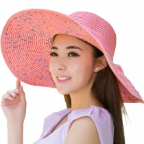 Elegant Floppy Hat Pink Hat Straw Hats for Women, Pink