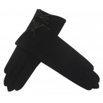 Winter Bowknot Wool Gloves Touch Screen Gloves Black