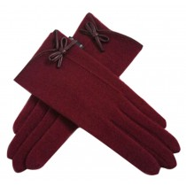 Bowknot Wool Gloves Autumn And Winter Keep Warm Touch Screen Gloves Fuchsia