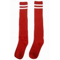 Breathable Football Game Socks Knee Length Socks For Kids, Red