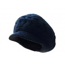 Knitted Cap Cap Earmuffs Double Warm Hat Peaked Cap Hat Black