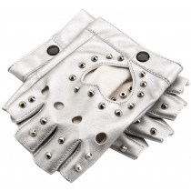 Women Street Dance Club Show Stage Gloves Studded Fingerless Gloves Silver