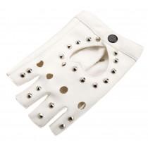 Women Street Dance Club Show Stage Gloves Studded Fingerless Gloves White