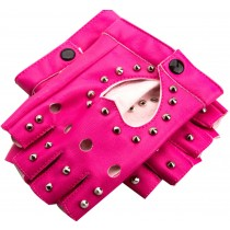 Women Street Dance Club Show Stage Gloves Studded Fingerless Gloves Rose Red