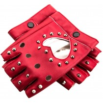 Fingerless Women Street Dance Club Show Stage Gloves Studded Gloves Red
