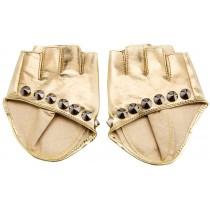 Leather Gloves Women Dance Punk Photography Rivets Fingerless Gloves Golden