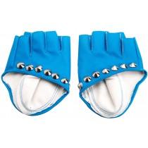 Women Leather Gloves Dance Punk Photography Rivets Fingerless Gloves Sky Blue