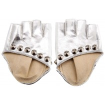 Punk Photography Rivets Fingerless Gloves Women Leather Gloves Dance Silver