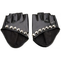 Women Gloves Dance Punk Photography Rivets Fingerless Gloves Gloss Black