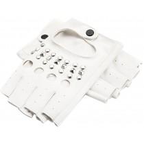 Brilliant Gloves Dance Punk Photography Rivets Fingerless Gloves White M