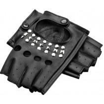 Women Gloves Dance Punk Photography Rivets Fingerless Gloves Black M