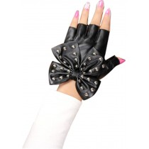 Women Gloves Dance Punk Photography Rivets Fingerless Gloves Black Butterfly