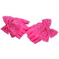 Women Gloves Dance Punk Photography Rivets Fingerless Gloves Pink Butterfly