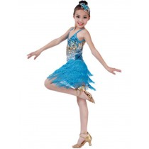 Fashion Latin Dance Costumes Girls Latin Costume Performance Dress Light Blue