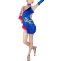 Fashion Tassel Dance Dresses Girls Latin Costume Performance Dress With Gloves