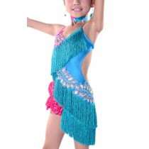 Qualities Tassel Dance Dresses Girls Latin Costume Light Blue Performance Dress
