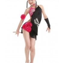 Classice Black, Tassel Dance Dresses Girls Latin Costume Performance Dress