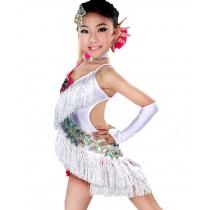 New Style Tassel Dance Dresses Girls Latin Costume Performance Dress White