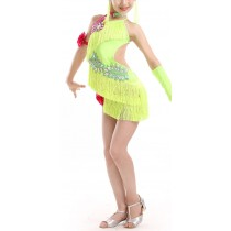 [Dancer] Girls Latin Costume Performance Dress Qualities Tassel Dance Dresses