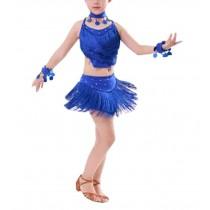 [Blue] Latin Dancing Dress Girl's Sequins Light Weight Latin Dance Costumes