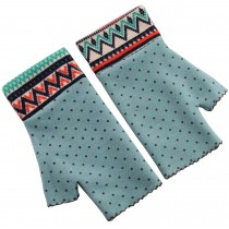 Dot Green - Warmer Winter Fingerless Gloves Thumb Hole Mittens for Lady