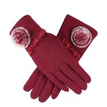 Ladies Elegant Warm Winter Gloves Driving Gloves Flower Red