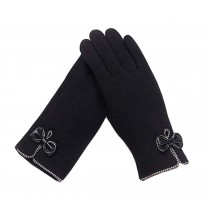 Ladies Elegant Warm Winter Gloves Driving Gloves Bow Black