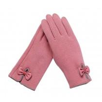 Ladies Elegant Warm Winter Gloves Driving Gloves Bow Pink